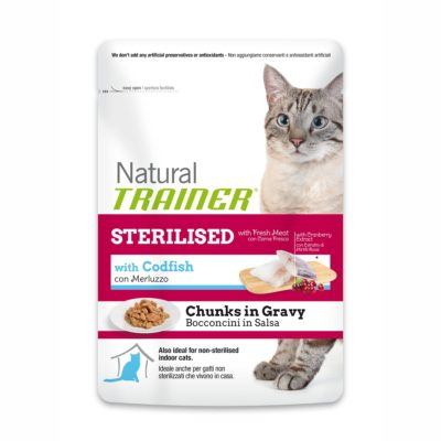 TRAINER NATURAL CAT STERILISED WITH CODFISH BUSTA per Gatti TRAINER