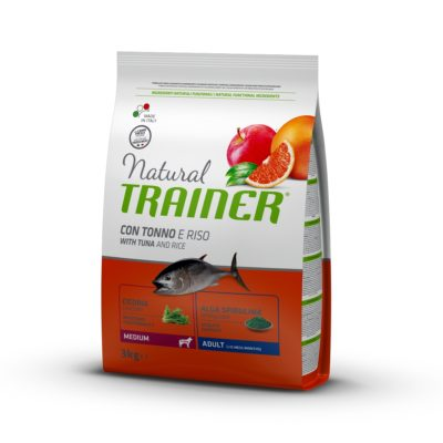 TRAINER NATURAL DOG MEDIUM ADULT PESCE E RISO per Cani TRAINER