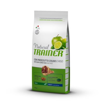 TRAINER NATURAL DOG MAXI  ADULT PROSCIUTTO CRUDO E RISO per Cani TRAINER