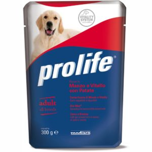 PROLIFE DOG BUSTA 300 GR MANZO/VITELLO/P per CANI Prolife