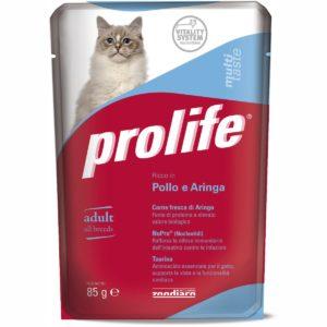 PROLIFE CAT BUSTA POLLO & ARINGA 85 GR per GATTI Prolife