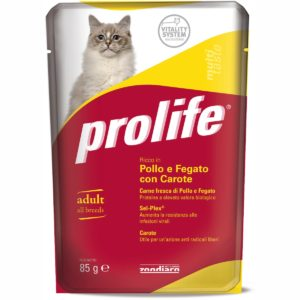 PROLIFE CAT BUSTA POLLO/FEGATO & CAROTE per GATTI Prolife