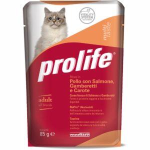 PROLIFE CAT BUSTA POLLO/SALM/GAMB/CAROTE per GATTI Prolife
